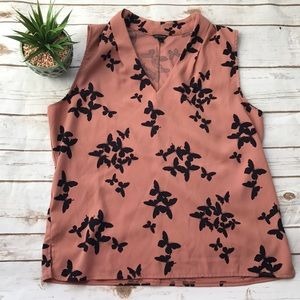Ann Taylor Butterfly Blouse Size Large